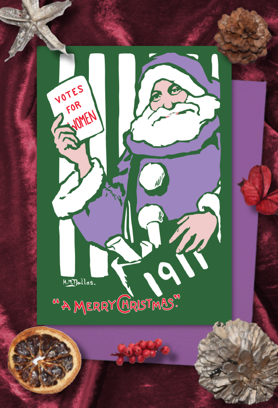 Purple Santa Votes for Women Christmas cards